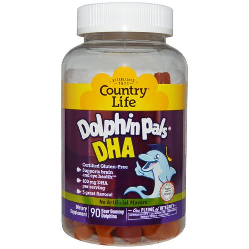 Country Life, Dolphin Pals, DHA, 3 Great Flavors, 90 Sour Gummy Dolphins Review