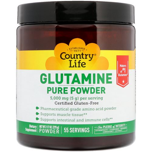 Country Life, Glutamine Pure Powder, 5,000 mg, 9.7 oz (275 g) Review
