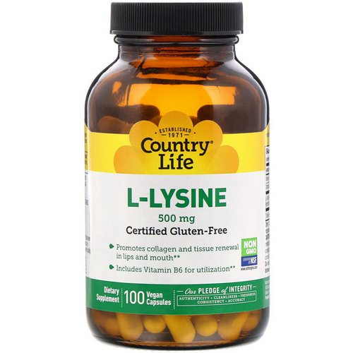 Country Life, L-Lysine, 500 mg, 100 Vegan Capsules Review