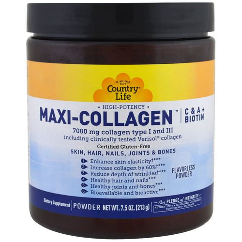Country Life, Maxi-Collagen, C & A plus Biotin, High Potency, Flavorless Powder, 7.5 oz (213 g) Review