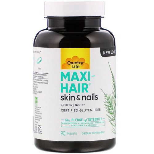 Country Life, Maxi-Hair, 2,000 mcg, 90 Tablets Review