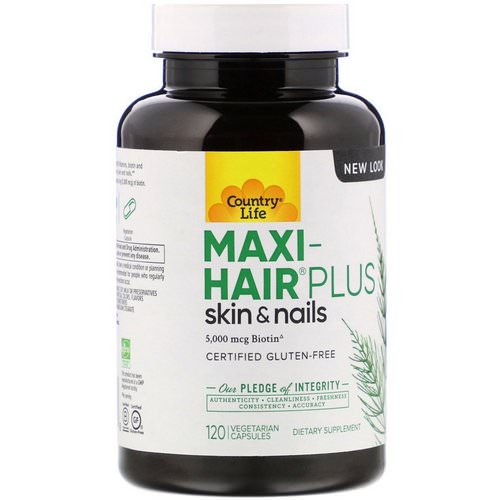 Country Life, Maxi Hair Plus, 5,000 mcg, 120 Vegetarian Capsules Review