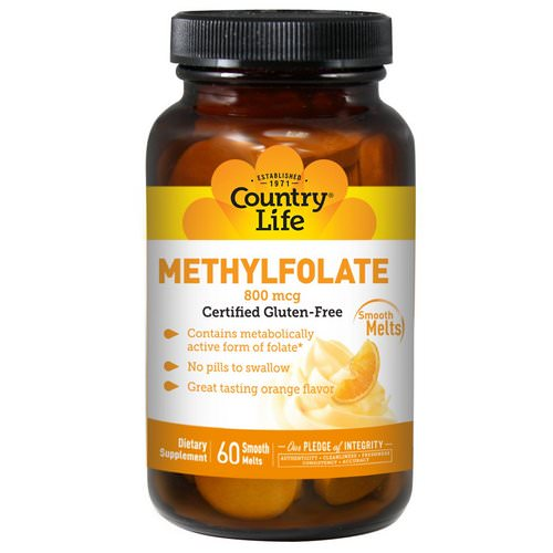 Country Life, Methylfolate, Orange Flavor, 800 mcg, 60 Smooth Melts Review