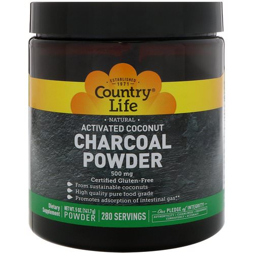 Country Life, Natural, Activated Coconut Charcoal Powder, 500 mg, 5 oz (141.7 g) Review