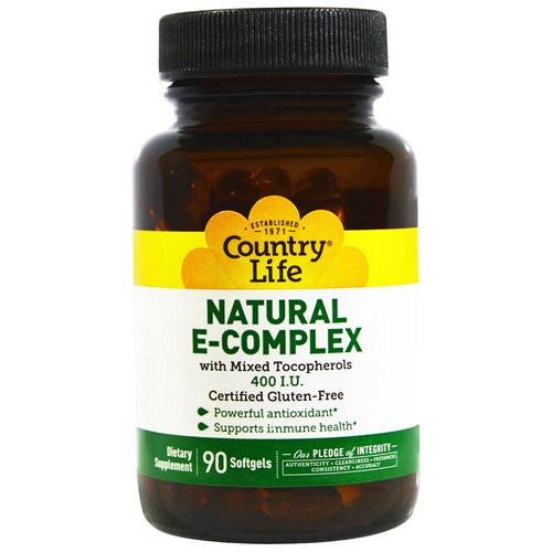 Country Life, Natural E-Complex, with Mixed Tocopherols, 400 IU, 90 Softgels Review