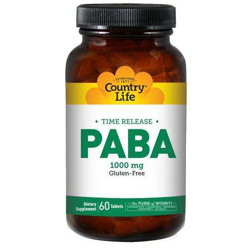 Country Life, PABA, Time Release, 1000 mg, 60 Tablets Review