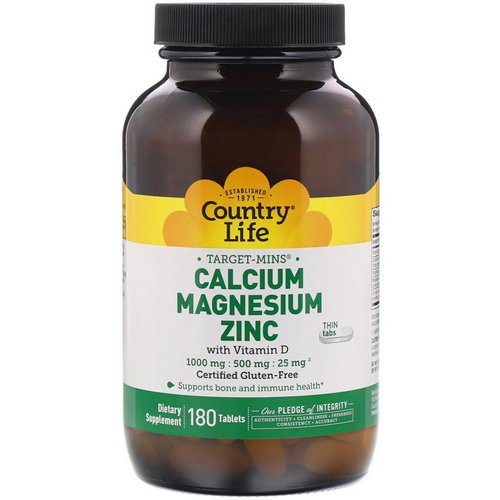 Country Life, Target-Mins, Calcium Magnesium Zinc, 1000 mg / 500 mg / 25 mg, 180 Tablets Review