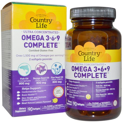 Country Life, Ultra Concentrated Omega 3-6-9 Complete, Natural Lemon, 90 Softgels Review