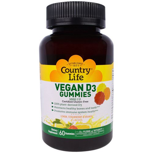 Country Life, Vegan D3 Gummies, Lemon, Strawberry & Orange Flavors, 1000 I.U, 60 Gummies Review