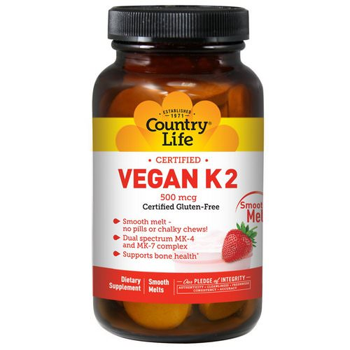 Country Life, Vegan K2, Strawberry, 500 mcg, 60 Smooth Melts Review