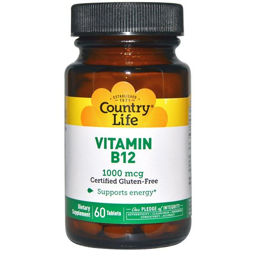 Country Life, Vitamin B12, 1000 mcg, 60 Tablets Review