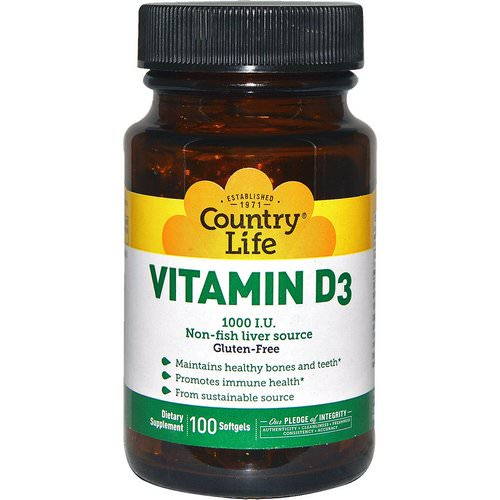 Country Life, Vitamin D3, 1000 IU, 100 Softgels Review