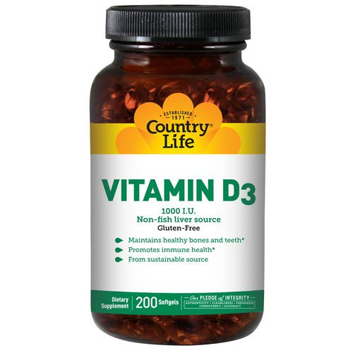 Country Life, Vitamin D3, 1000 IU, 200 Softgels Review