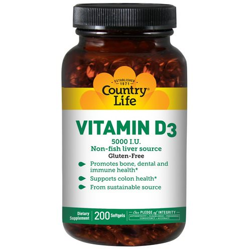 Country Life, Vitamin D3, 5,000 IU, 200 Softgels Review