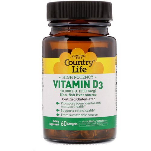 Country Life, Vitamin D3, High Potency, 10,000 I.U, 60 Softgels Review