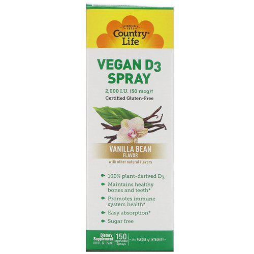 Country Life, Vitamin D3 Spray, Vanilla Bean Flavor, 2,000 I.U. (50 mcg), 150 Ingestible Sprays, 0.81 fl oz (24 ml) Review