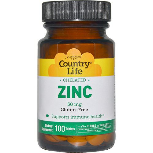 Country Life, Zinc, Chelated, 50 mg, 100 Tablets Review