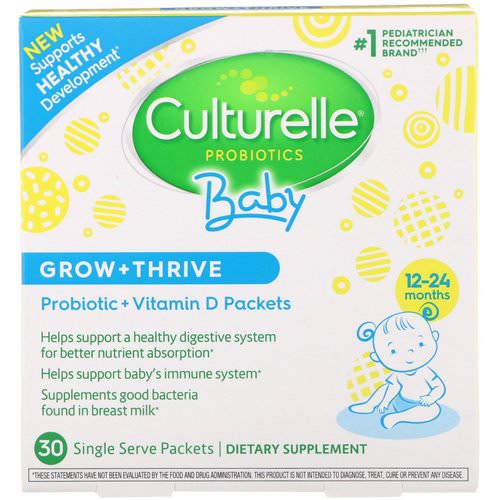 Culturelle, Probiotics, Baby, Grow + Thrive, Probiotics + Vitamin D Packets, 12-24 Months, 30 Single Serve Packets Review