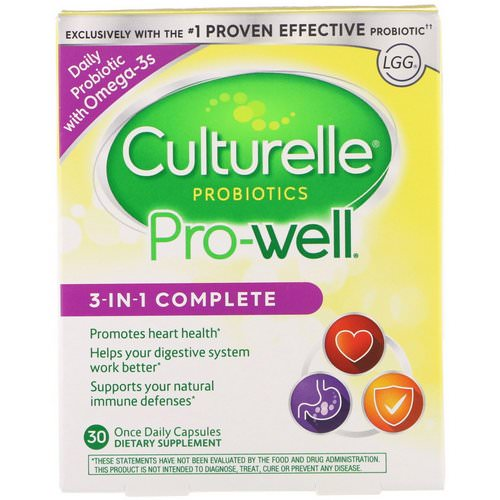 Culturelle, Probiotics, Pro-Well, 3-in-1 Complete, 30 Once Daily Capsules Review