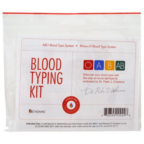 D'adamo, Blood Typing Kit, 1 Easy Self-Testing Kit Review