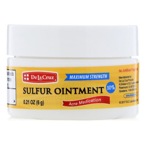 De La Cruz, Sulfur Ointment, Acne Medication, Maximum Strength, 0.21 oz (6 g) Review