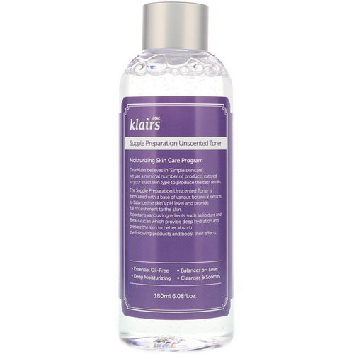Dear, Klairs, Supple Preparation Unscented Toner, 6.08 fl oz (180 ml) Review