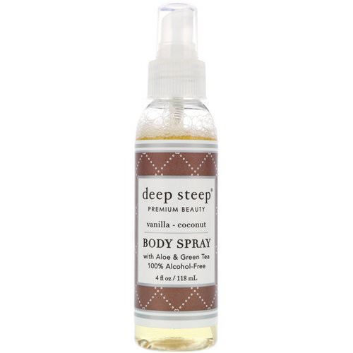 Deep Steep, Body Spray, Vanilla - Coconut, 4 fl oz (118 ml) Review