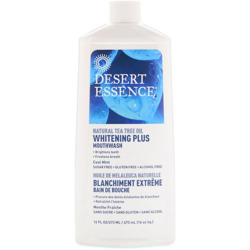 Desert Essence, Whitening Plus Mouthwash, Cool Mint, 16 fl oz (480 ml) Review