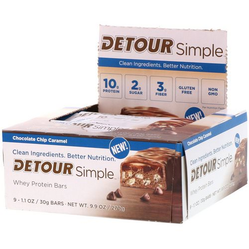 Detour, Simple, Whey Protein Bars, Chocolate Chip Caramel, 9 Bars, 1.1 oz (30 g) Each Review