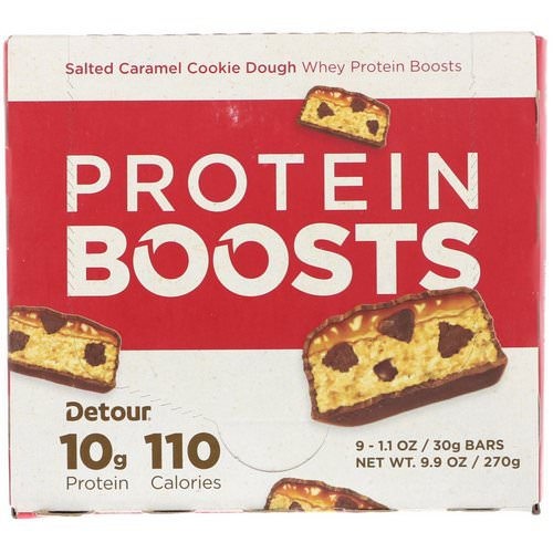 Detour, Protein Boosts Bars, Salted Caramel Cookie Dough, 9 Bars, 1.1 oz (30 g) Each Review