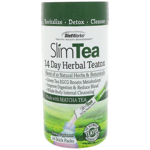 DietWorks, Slim Tea, 14 Day Herbal Teatox, Matcha Tea, Raspberry Flavor, 14 Stick Packs Review