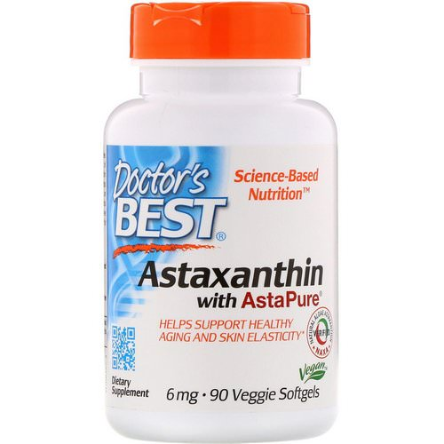 Doctor's Best, Astaxanthin with AstaPure, 6 mg, 90 Veggie Softgels Review
