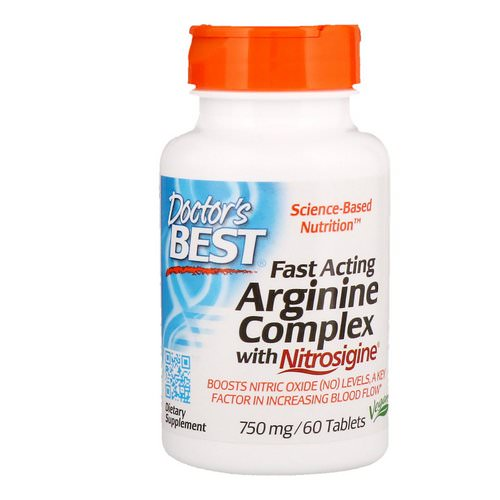 Doctor's Best, Fast Acting Arginine Complex with Nitrosigine, 750 mg, 60 Tablets Review