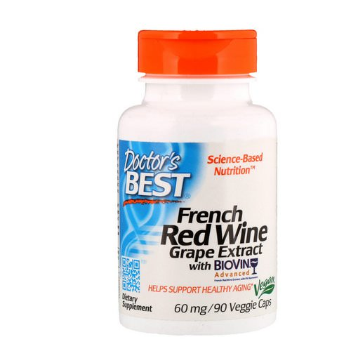 Doctor's Best, French Red Wine Grape Extract, 60 mg, 90 Veggie Caps Review