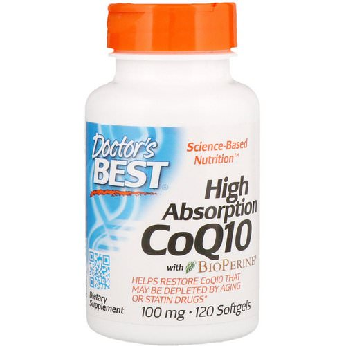 Doctor's Best, High Absorption CoQ10 with BioPerine, 100 mg, 120 Softgels Review