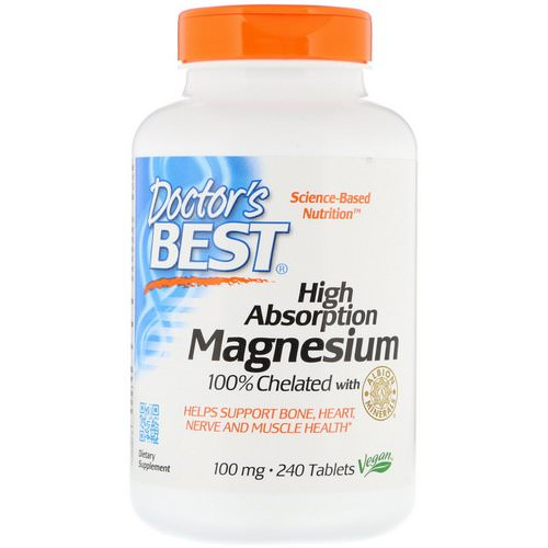 Doctor's Best, High Absorption Magnesium 100% Chelated with Albion Minerals, 100 mg, 240 Tablets Review
