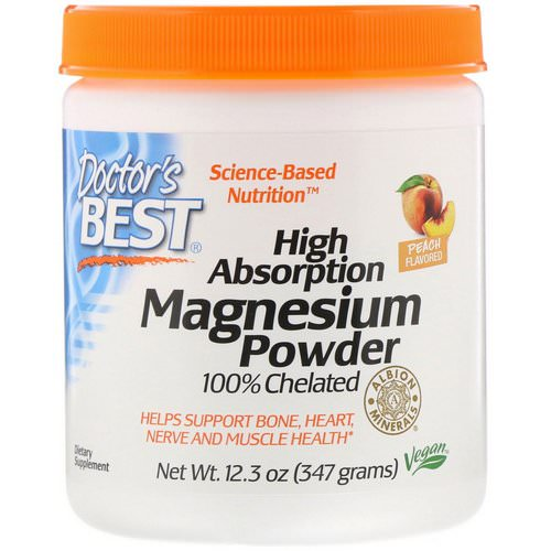 Doctor's Best, High Absorption Magnesium Powder 100% Chelated with Albion Minerals, Peach Flavored, 12.3 oz (347 g) Review