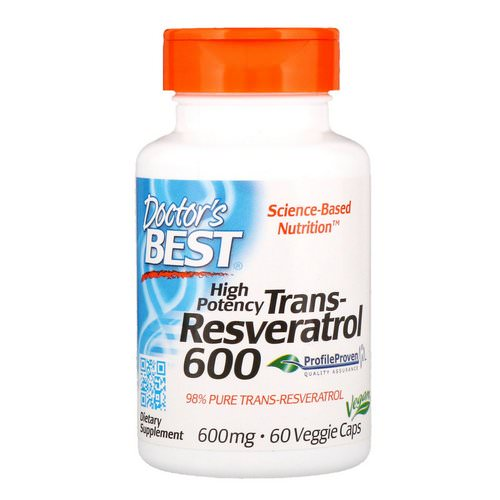 Doctor's Best, High Potency Trans-Resveratrol, 600 mg, 60 Veggie Caps Review