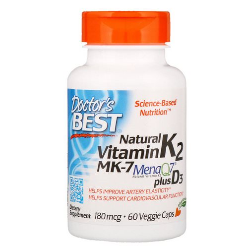 Doctor's Best, Natural Vitamin K2 MK-7 with MenaQ7 plus Vitamin D3, 180 mcg, 60 Veggie Caps Review