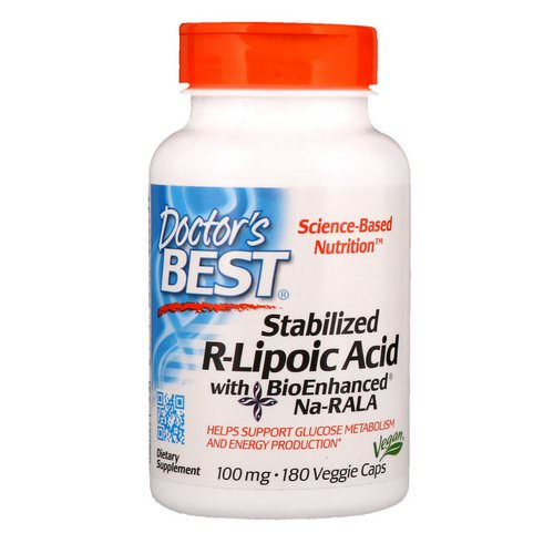 Doctor's Best, Stabilized R-Lipoic Acid with BioEnhanced Na-RALA, 100 mg, 180 Veggie Caps Review