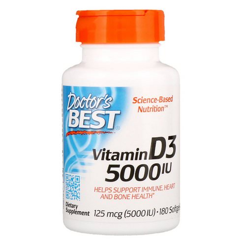 Doctor's Best, Vitamin D3, 125 mcg (5000 IU), 180 Softgels Review