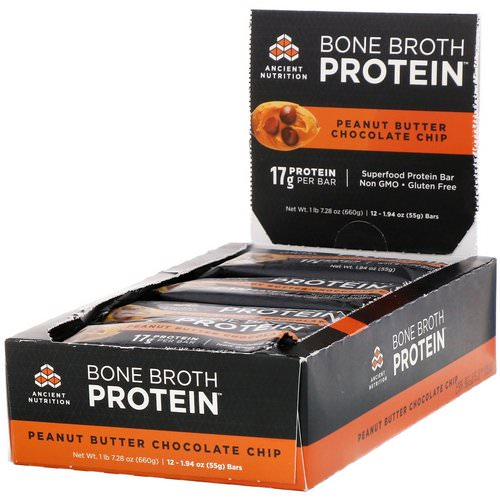 Dr. Axe / Ancient Nutrition, Bone Broth Protein Bar, Peanut Butter Chocolate Chip, 12 Bars, 1.94 oz (55 g) Each Review