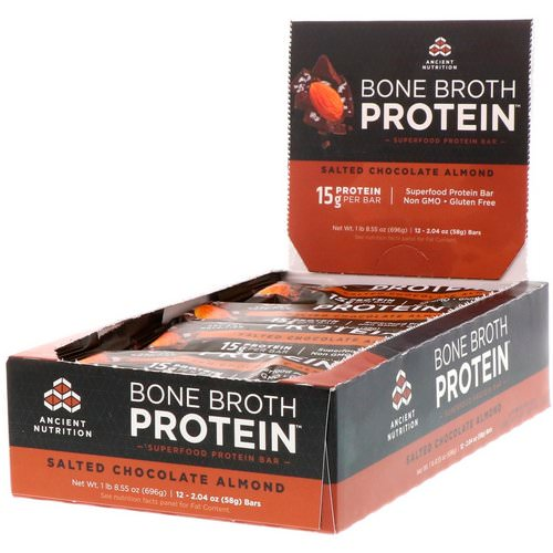 Dr. Axe / Ancient Nutrition, Bone Broth Protein Bar, Salted Chocolate Almond, 12 Bars, 2.04 oz (58 g) Each Review