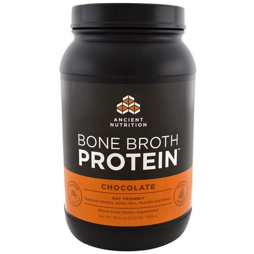 Dr. Axe / Ancient Nutrition, Bone Broth Protein, Chocolate, 2.22 lbs (1008 g) Review
