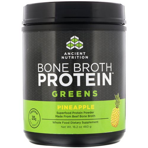 Dr. Axe / Ancient Nutrition, Bone Broth Protein Greens, Pineapple, 16.2 oz (460 g) Review