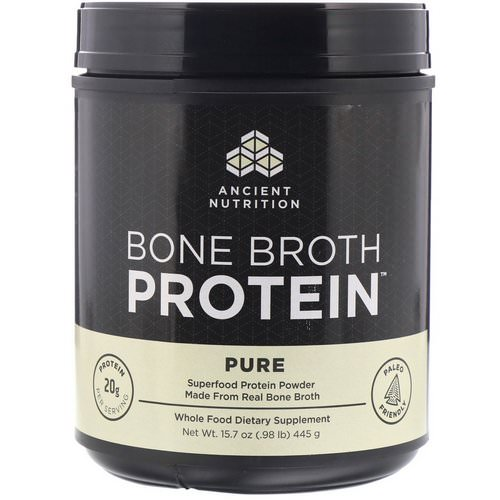 Dr. Axe / Ancient Nutrition, Bone Broth Protein, Pure, 15.7 oz (445 g) Review