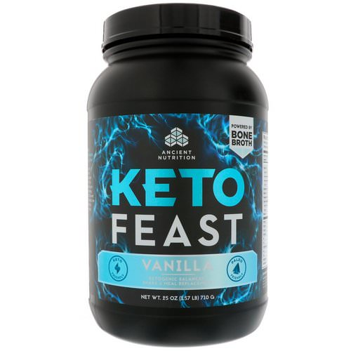 Dr. Axe / Ancient Nutrition, Keto Feast, Ketogenic Balanced Shake & Meal Replacement, Vanilla, 1.56 lbs (710 g) Review