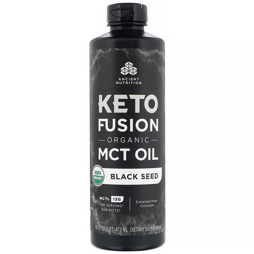 Dr. Axe / Ancient Nutrition, Keto Fusion Organic MCT Oil, Black Seed, 16 fl oz (473 ml) Review