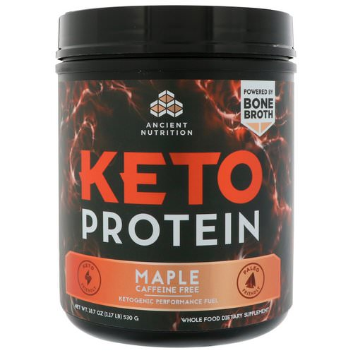 Dr. Axe / Ancient Nutrition, Keto Protein, Ketogenic Performance Fuel, Caffeine Free, Maple, 18.7 oz (530 g) Review