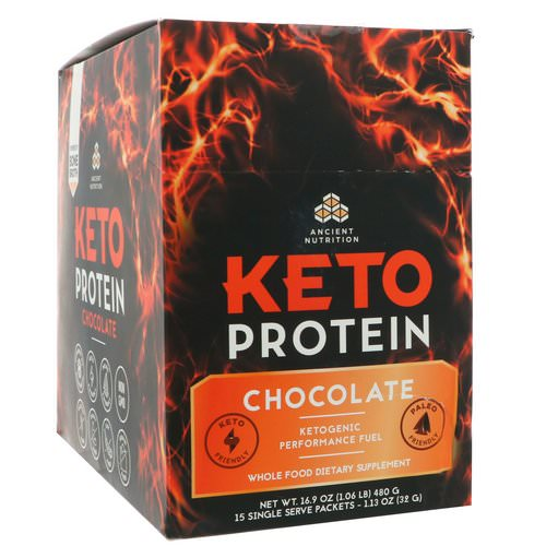 Dr. Axe / Ancient Nutrition, Keto Protein, Ketogenic Performance Fuel, Chocolate, 15 Single Serve Packets, 1.13 oz (32 g) Each Review